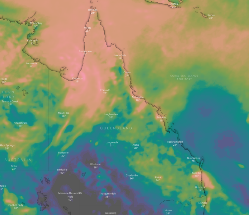 A weather map shows 10-day rain forecast in the Northern Territory and Queensland on Tuesday showing a metre of rain to fall in the Gulf .