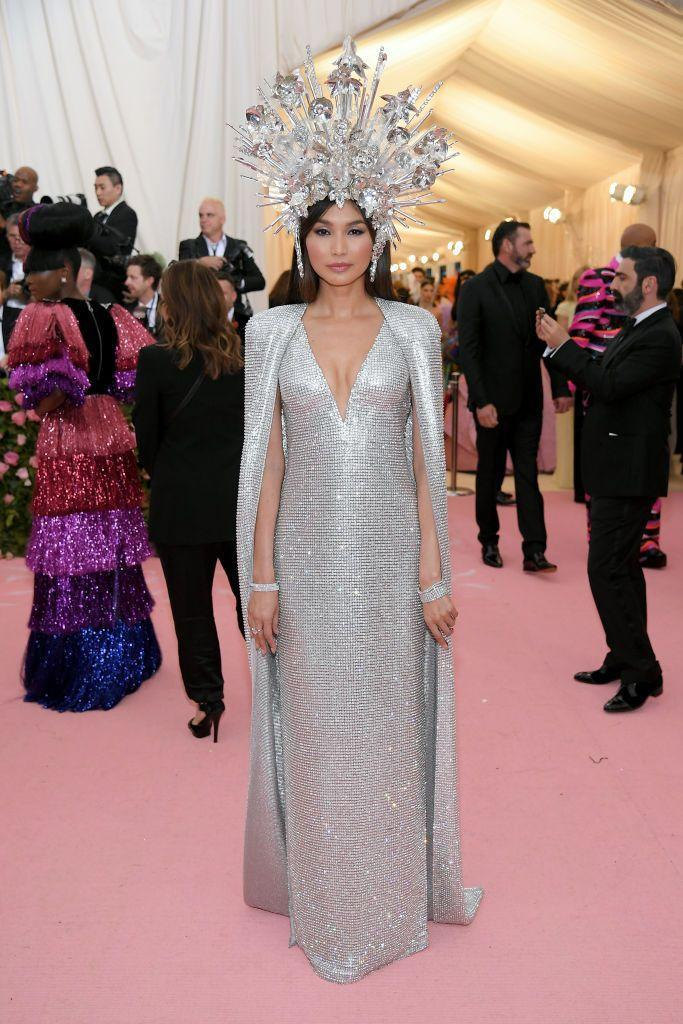 <p>The Crazy Rich Asians star dazzled in an Elizabeth Taylor inspired chainmail dress by Tom Ford. To close the look, Chan sported a dramatic headdress harking back to Taylor's famous number from the film Boom!, which she also wore to a masked ball at Venice's Rezzonico Palace in 1967.</p>