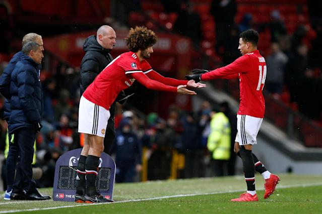 Soccer Football - FA Cup Quarter Final - Manchester United vs Brighton & Hove Albion - Old Trafford, Manchester, Britain - March 17, 2018 Manchester United's Marouane Fellaini comes on as a substitute to replace Jesse Lingard REUTERS/Andrew Yates
