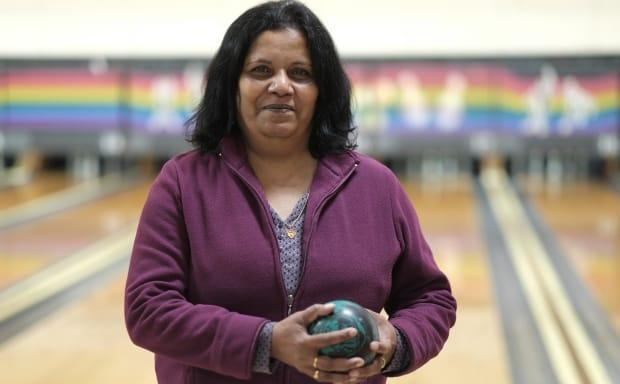 """Doris Graham had the highest score among the mental health support group on the day CBC was at Orillia Bowl. """"I was depressed in the house, and this is like a lifeline for me, bowling,"""" she says."""