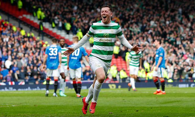 Callum McGregor celebrates after scoring Celtic's second goal in their Scottish FA Cup win over Rangers.