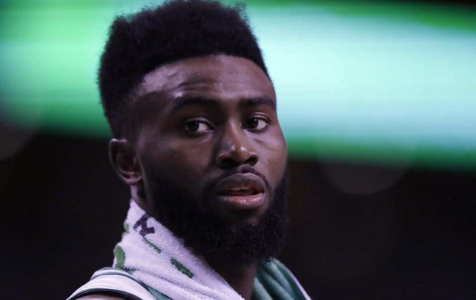 Celtics forward Jaylen Brown shared his thoughts on racism in America. (AP)