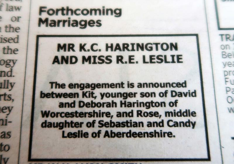 The announcement appeared in the Times of London on September 27. (Getty Images via Getty Images)