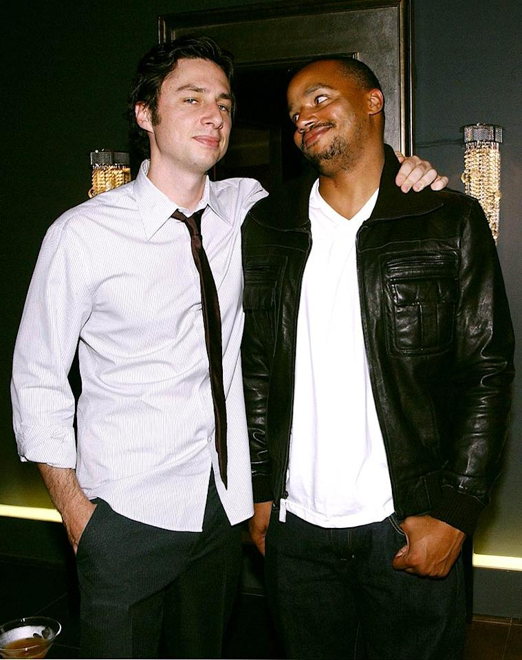"It's double trouble when you get ""Scrubs"" costars and best buddies Zach Braff and Donald Faison together! Mike Guastella/<a href=""http://www.wireimage.com"" target=""new"">WireImage.com</a> - October 17, 2007"