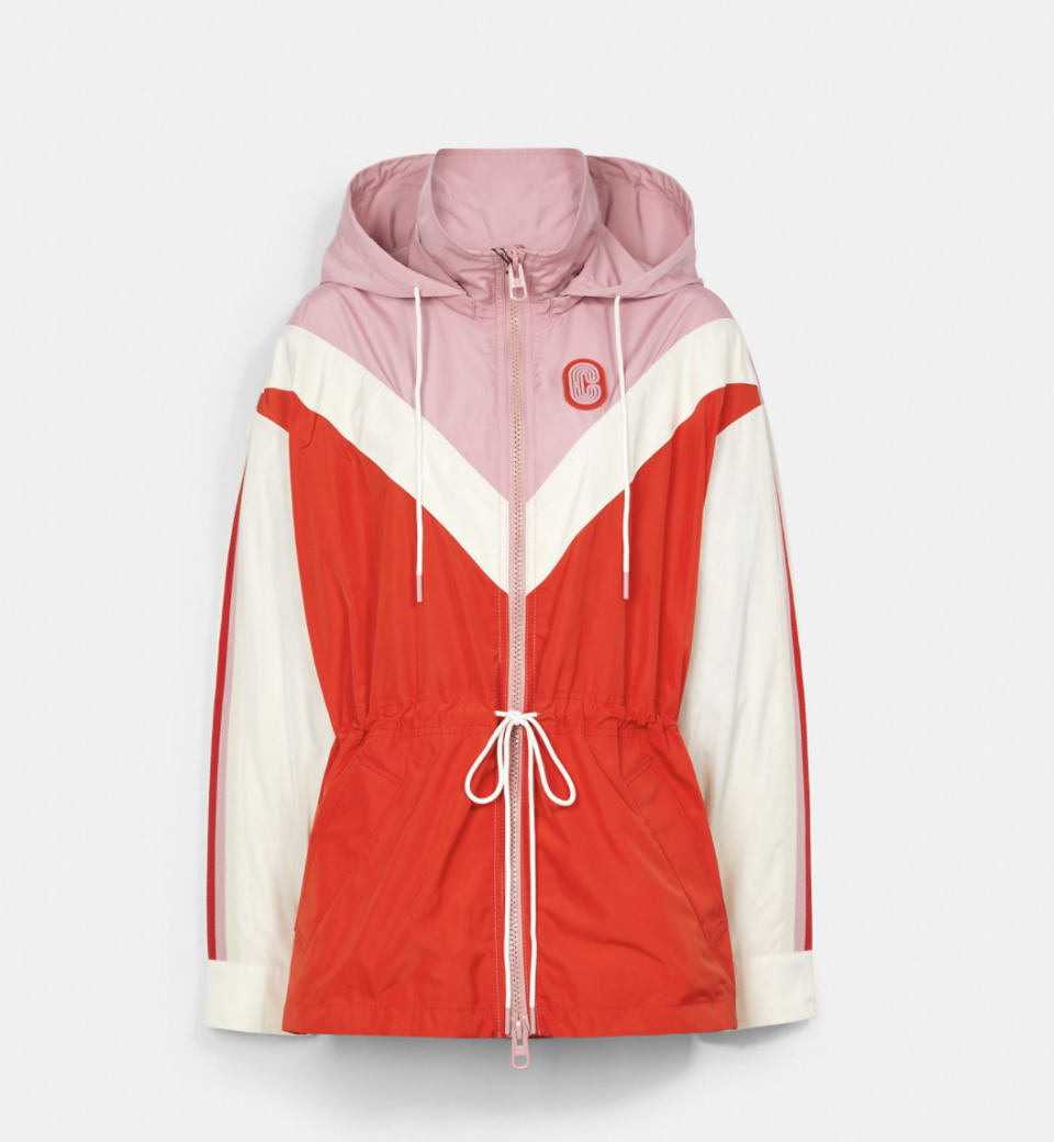 pink, red, and white coach outlet Packable Chevron Windbreaker