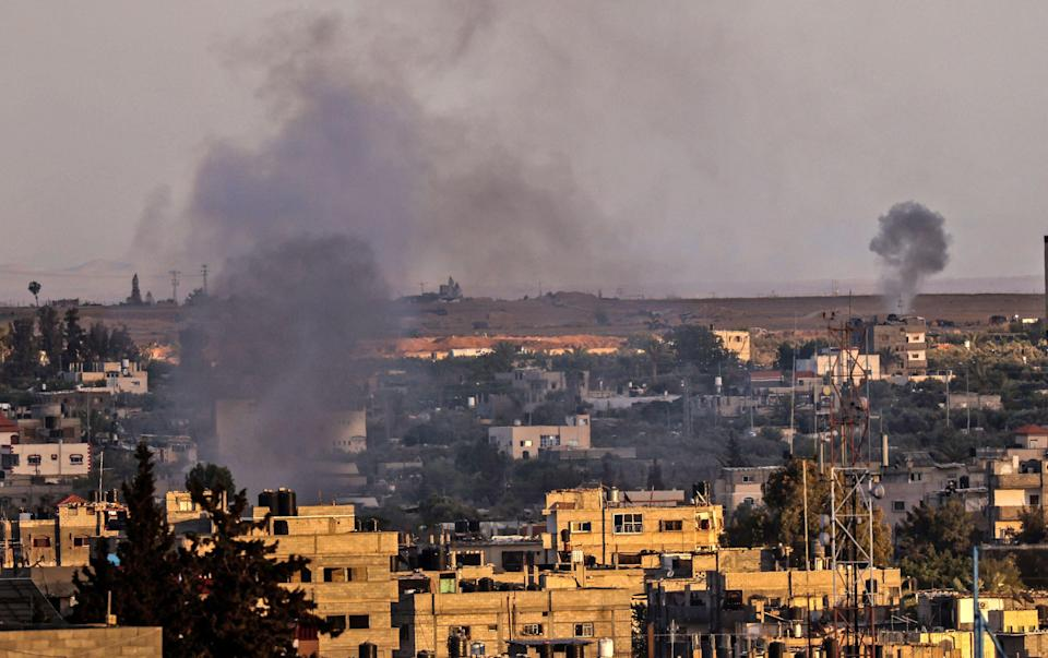 Smoke rises after Israeli air strikes on Rafah in southern Gaza Strip (AFP via Getty Images)