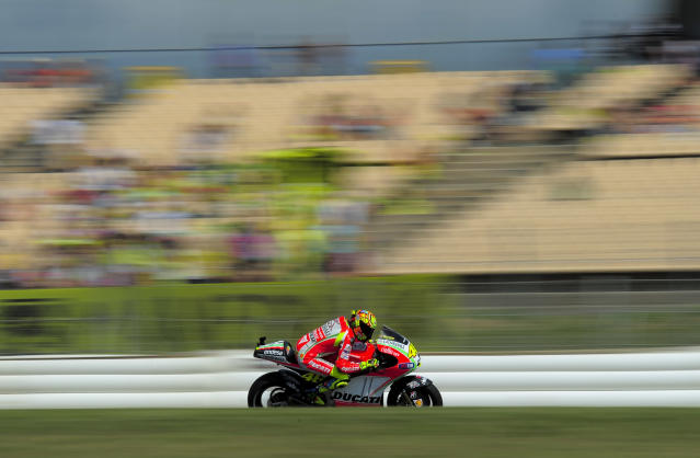 Ducati Team's Italian Valentino Rossi rides at the Catalunya racetrack in Montmelo, near Barcelona, on June 1, 2012, during the MotoGP first training session of the Catalunya Moto GP Grand Prix. AFP PHOTO / JOSEP LAGOJOSEP LAGO/AFP/GettyImages