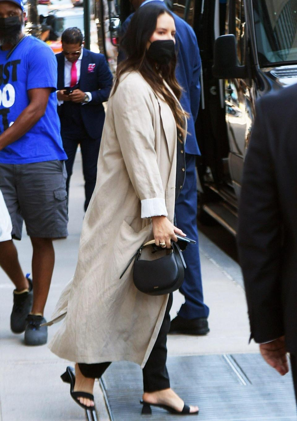 Pregnant Olivia Munn and boyfriend John Mulaney step out in NYC on Friday afternoon just days after days Mulaney revealed to Seth Meyers he and Munn are expecting a child. Pictured: Olivia Munn