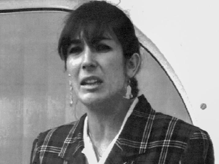 Ghislaine Maxwell reading a press statement on her father's death in Spain in November 1991AP