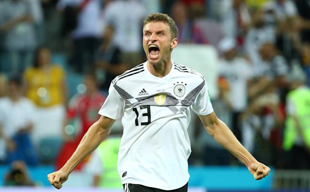 Soccer Football - World Cup - Group F - Germany vs Sweden - Fisht Stadium, Sochi, Russia - June 23, 2018 Germany's Thomas Muller celebrates after the match REUTERS/Michael Dalder TPX IMAGES OF THE DAY