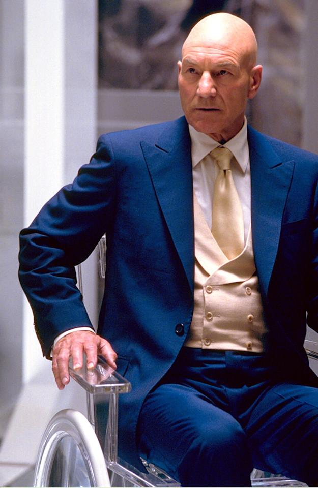 "<a href=""http://movies.yahoo.com/movie/contributor/1800019365"">PATRICK STEWART</a>, <a href=""http://movies.yahoo.com/movie/1800353817/info"">X-Men</a>  With his mental mutant powers, Professor X proves that you don't need hair -- or even the ability to walk -- to be a superhero."