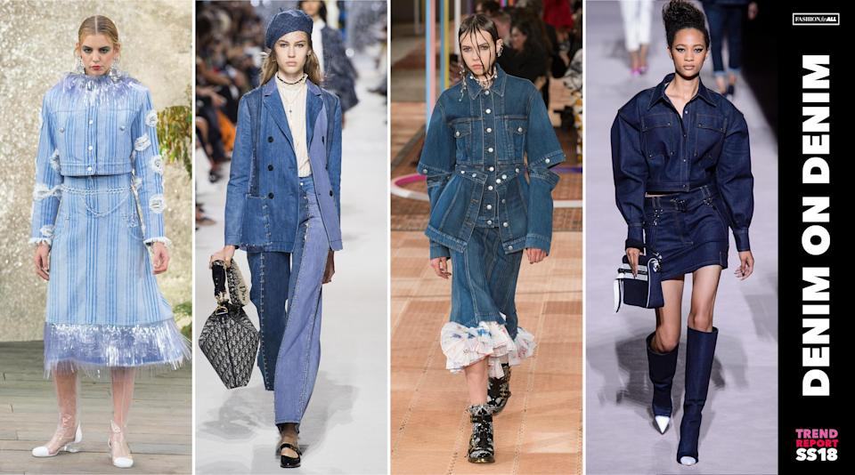 <p>Denim in all washes were reimagined in new silhouettes and styles. From two-toned blazers to embellished skirts, denim has a new look for spring. (Photo: ImaxTree) </p>