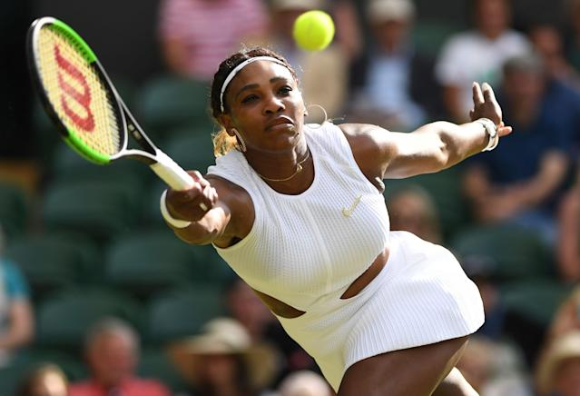 US player Serena Williams returns the ball to Italia's Giulia Gatto-Monticone during their women's singles first round match on the second day of the 2019 Wimbledon Championships at The All England Lawn Tennis Club in Wimbledon, southwest London, on July 2, 2019. (Photo by Glyn Kirk/AFP/Getty Images)