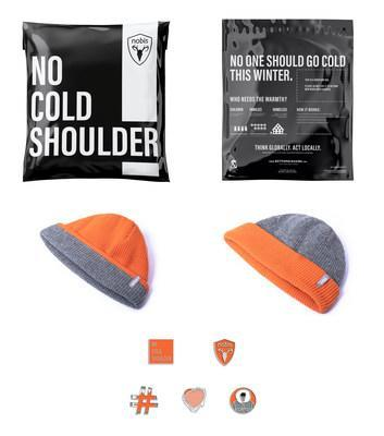 From top to bottom: Nobis No Cold Shoulder Donation Mailer Bag; Nobis No Cold Shoulder Unisex Reversible Beanie ($50 CAD); Nobis No Cold Shoulder Enamel Pin ($12 CAD each, $50 CAD for full set) (CNW Group/Nobis)