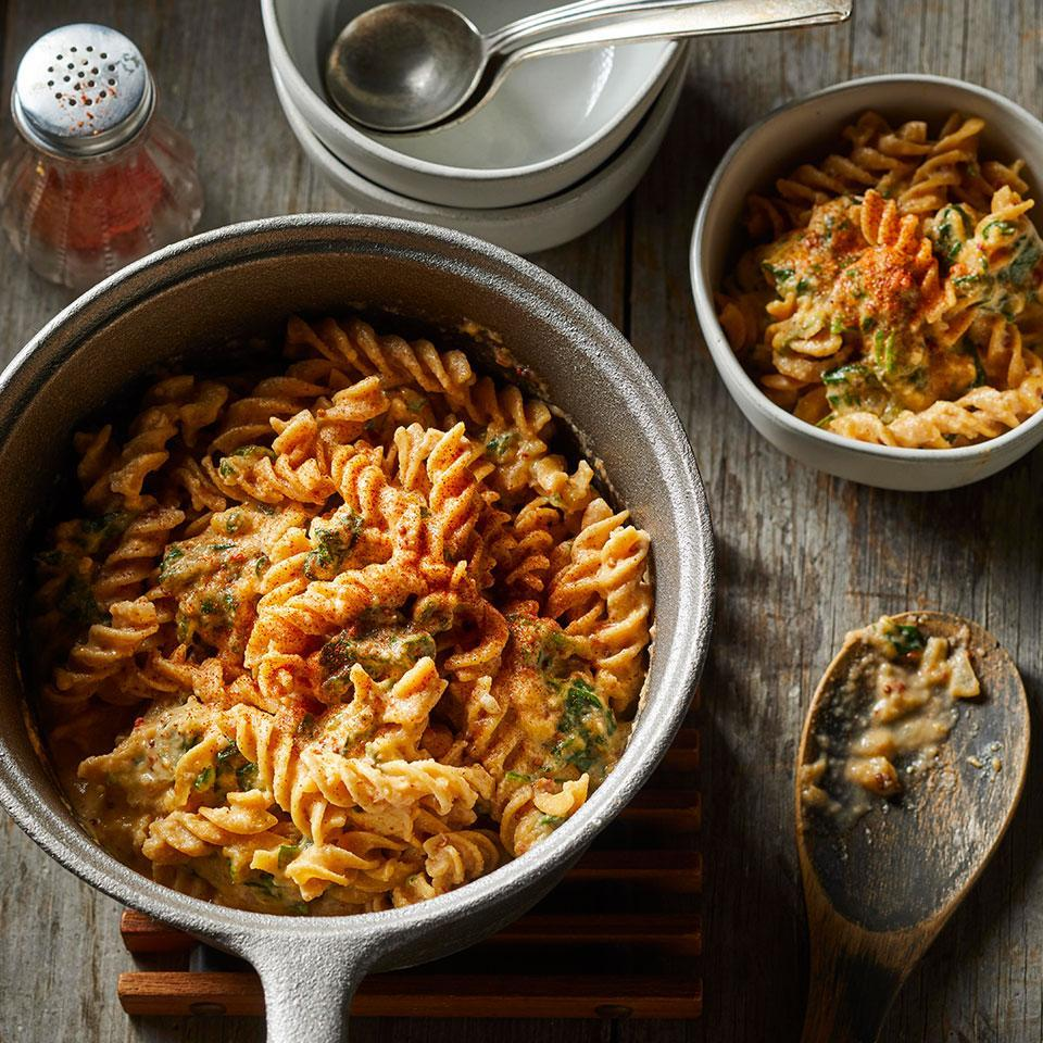 <p>You'll barely notice the cauliflower in this comforting skillet pasta--it's pureed and mixed into the creamy cheese sauce.</p>