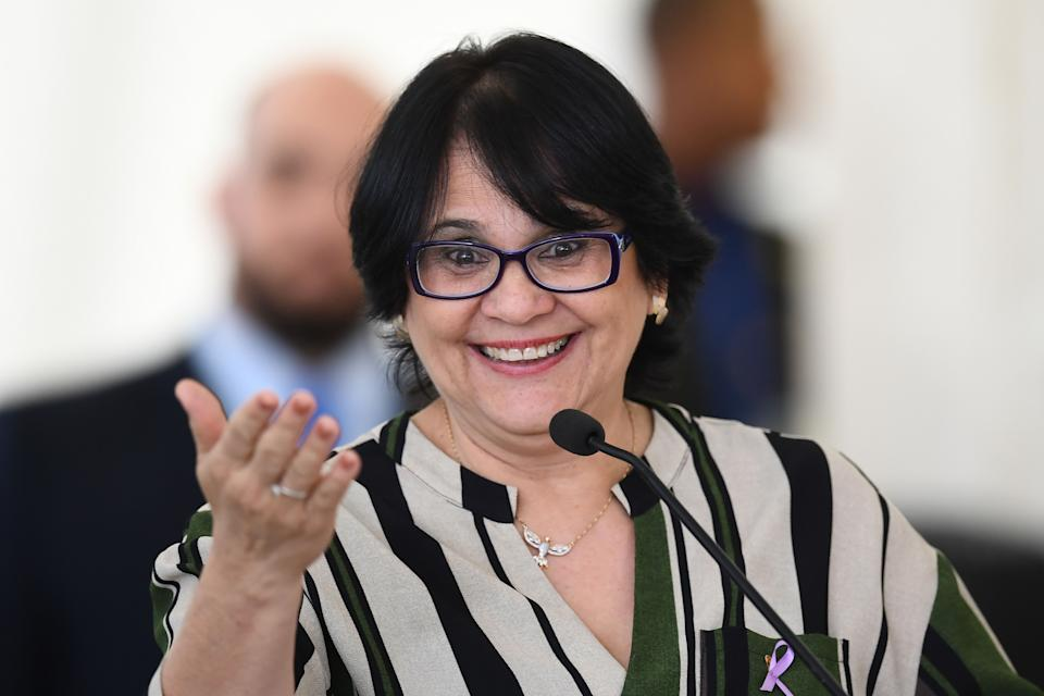 Brazilian Minister of Human Rights, Family and Women Damares Alves delivers a speech during the International Youth Day celebration at Planalto Palace in Brasilia on August 16, 2019. (Photo by EVARISTO SA / AFP)        (Photo credit should read EVARISTO SA/AFP via Getty Images)