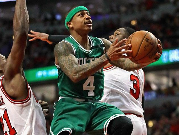 Isaiah Thomas floats one in. (Getty Images)