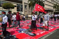Demonstrators protest against military coup in Yangon