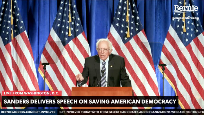 Sen. Bernie Sanders addresses the nation. (Via YouTube)