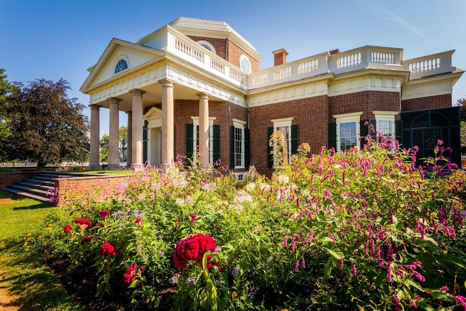 "<p>Monticello served as Thomas Jefferson's home for over 55 years, from 1770 until he passed away in 1826. Jefferson renovated the house towards the end of the 1700s into the early 1800s, a project that included an alteration of six fireplaces and an addition of two more fireplaces, one of which is the Rumford fireplace, featuring a blue and white Wedgwood panel inlay.</p><a class=""link rapid-noclick-resp"" href=""https://www.monticello.org/house-gardens/virtual-tours-of-monticello/"" rel=""nofollow noopener"" target=""_blank"" data-ylk=""slk:TOUR NOW"">TOUR NOW</a>"