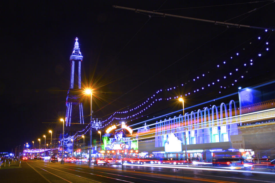 The Blackpool Tower and lights at at night (Getty Images)