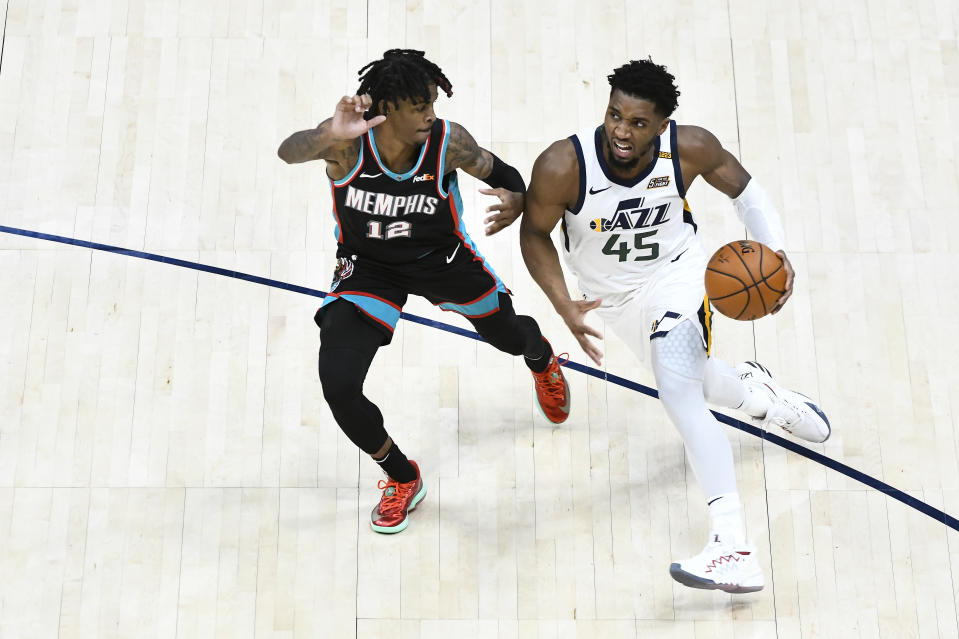 Memphis Grizzlies guard Ja Morant enters his first playoff series against Donovan Mitchell and the Utah Jazz. (Alex Goodlett/Getty Images)
