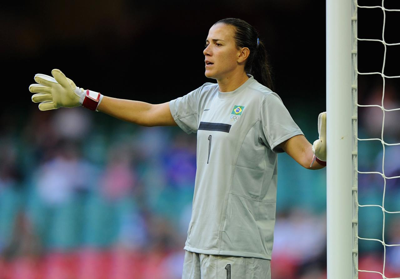 CARDIFF, WALES - JULY 25: Andreia of Brazil gestures during the First Round Women's Football Group E Match of the London 2012 Olympic Games between Cameroon and Brazil at Millennium Stadium on July 25, 2012 in Cardiff, Wales.  (Photo by Michael Regan/Getty Images)