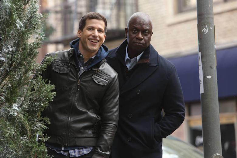 "BROOKLYN NINE-NINE: Andy Samberg and Andre Braugher in the ""Nine Days"" episode of BROOKLYN NINE-NINE airing Tuesday, Jan. 19 (9:00-9:30 PM ET/PT) on FOX. ©2015 Fox Broadcasting Co. CR: Jordin Althaus/FOX."