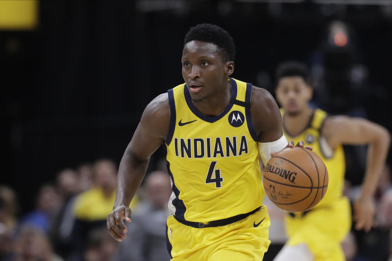 Victor Oladipo appears to be reconsidering his priorities with NBA basketball looming. (AP Photo/Darron Cummings)