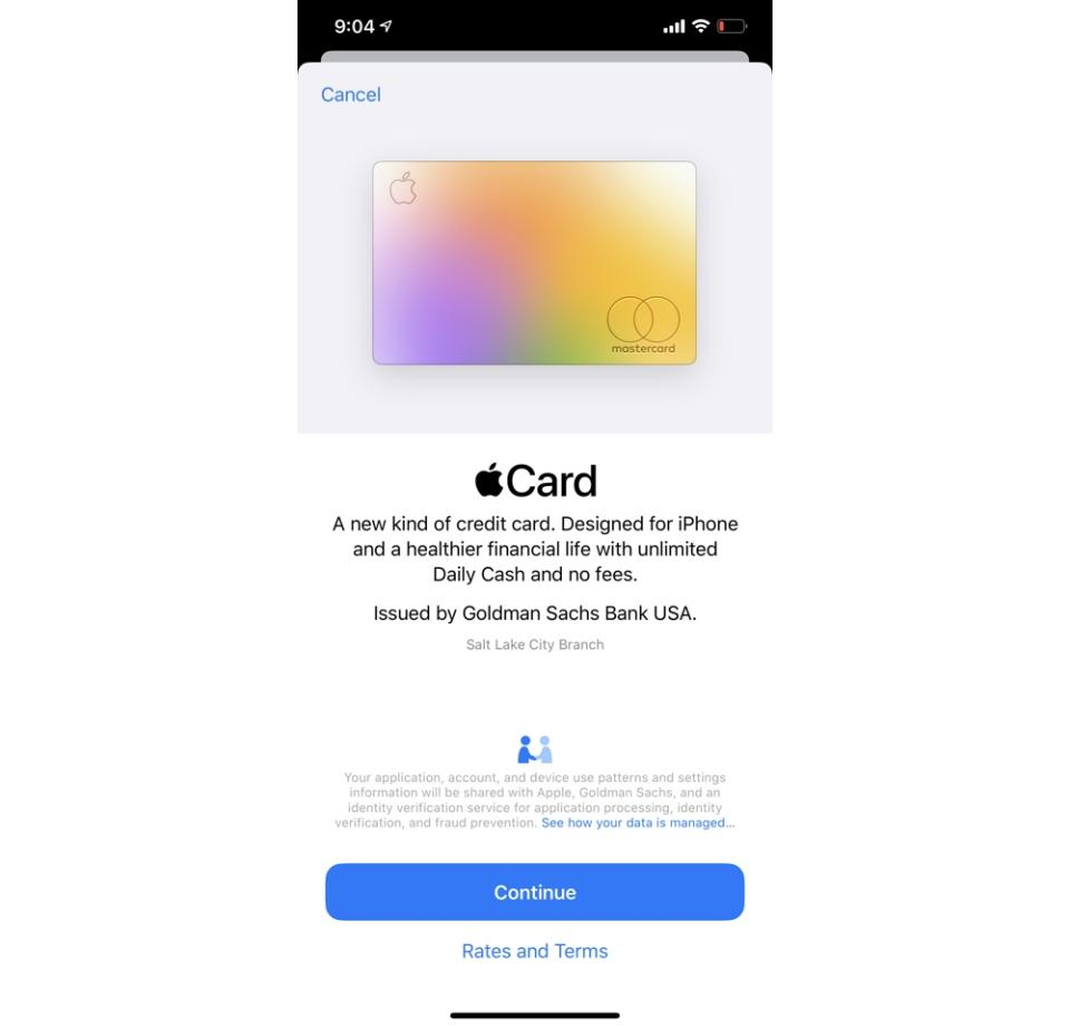 Signing up for the Apple Card takes seconds. (Image: Howley)