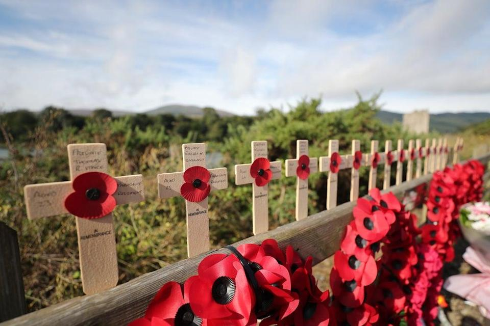 Commemorative crosses placed at Narrow Water close to Warrenpoint in Co Down (Niall Carson/PA) (PA Archive)