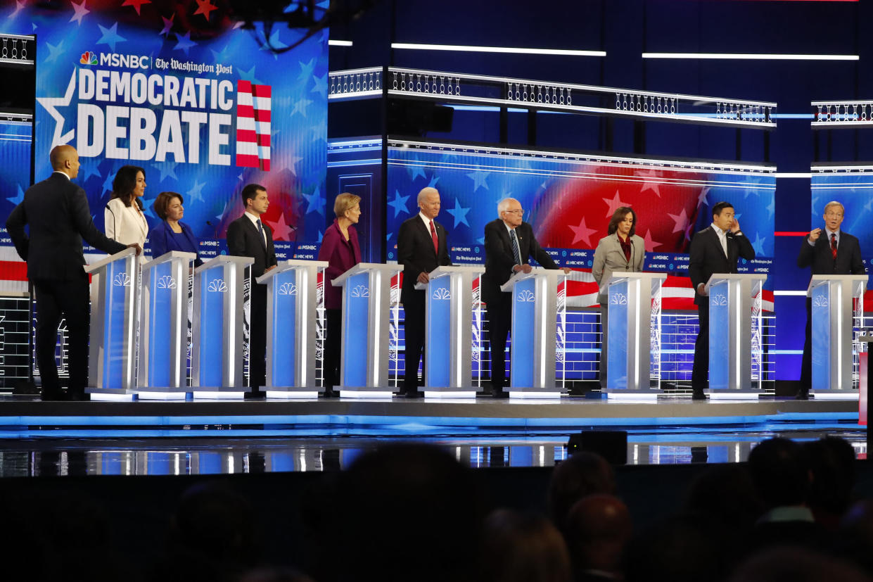 Candidates in the Democratic debate on Wednesday. (AP Photo/John Bazemore)