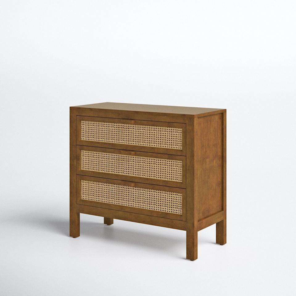 <p>If you love cane furniture, then prepare to want the <span>Joss &amp; Main 3 Drawer Accent Chest</span> ($740, originally $930). It would make your bedroom look like new.</p>