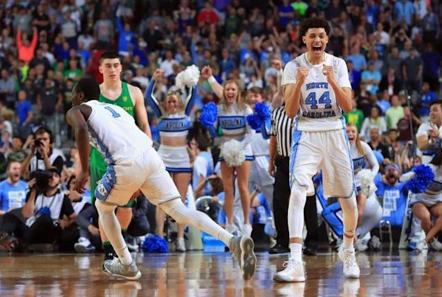 UNC's Justin Jackson reacts after the Tar Heels beat the Oregon Ducks to advance to the national championship game. (Getty)