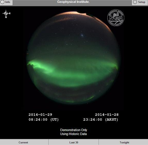 A screenshot of the northern lights app developed by Don Hampton of the University of Alaska Fairbanks to share the wonder of Earth's auroras with the public.