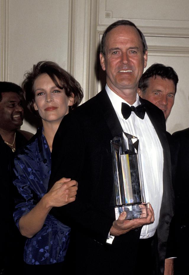 Jamie Lee Curtis and John Cleese during The Screen Actors Guild Jack Oakie Awards (Jim Smeal/Ron Galella Collection via Getty Images)