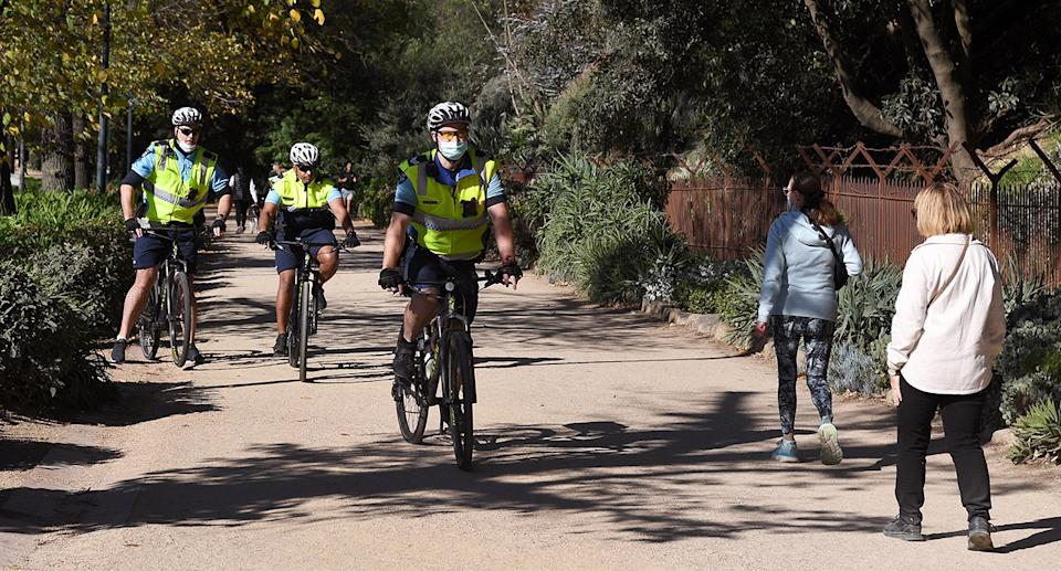 Police on bicycles patrol in Melbourne on June 2, 2021.