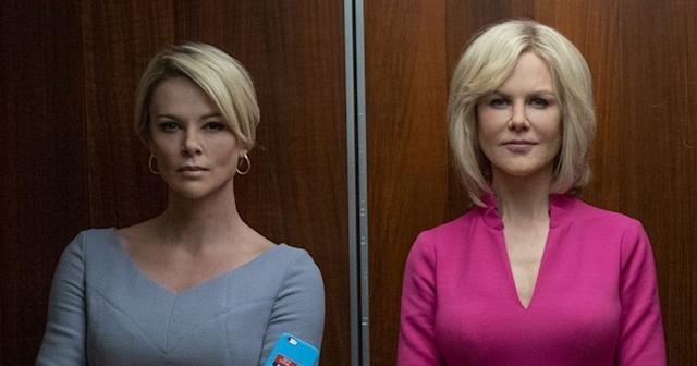 Charlize Theron and Nicole Kidman in 'Bombshell'. (Credit: Lionsgate)