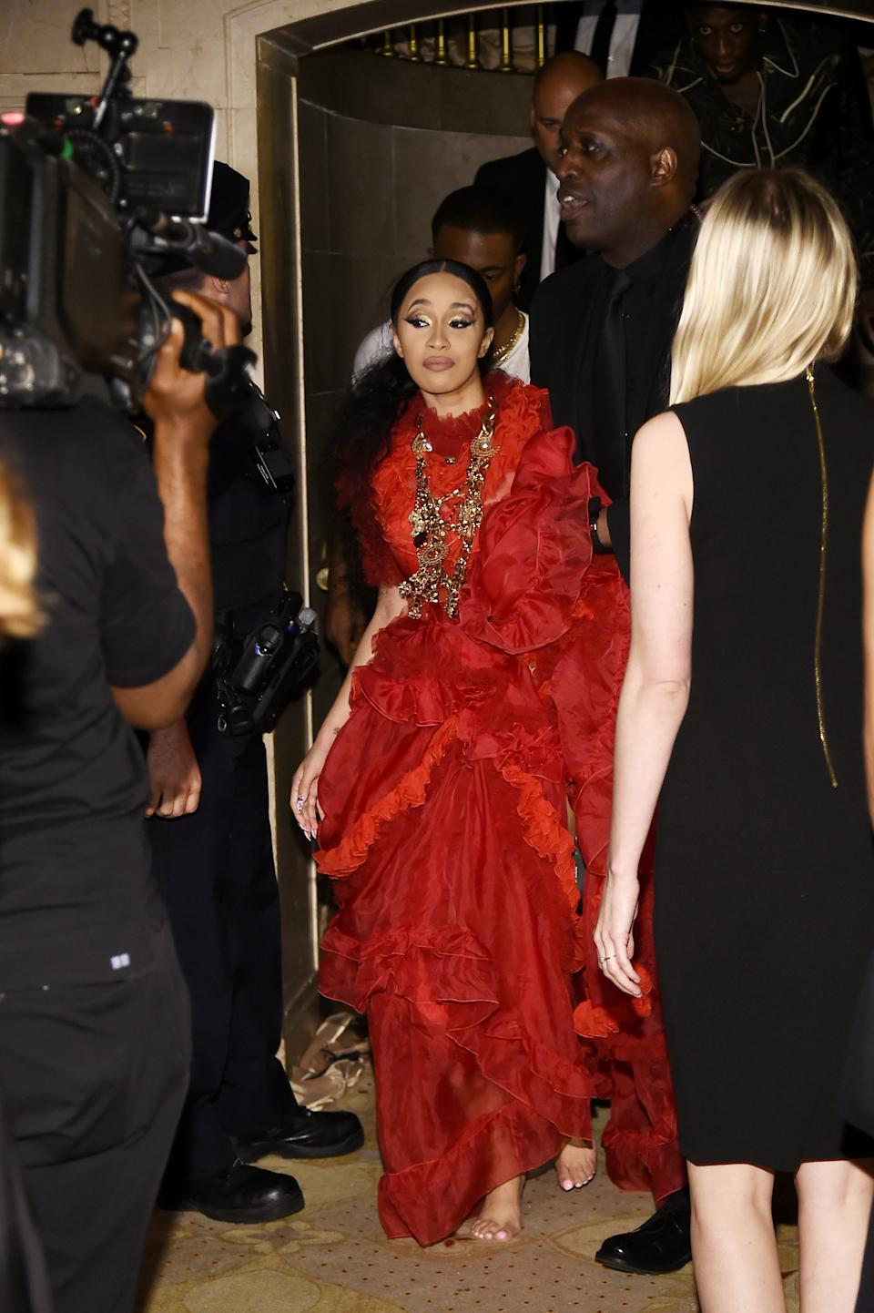 Cardi B walks out of the Harper Bazaar's Icons part at The Plaza on Sept. 7, 2018. (Photo: Steven Ferdman/WireImage)