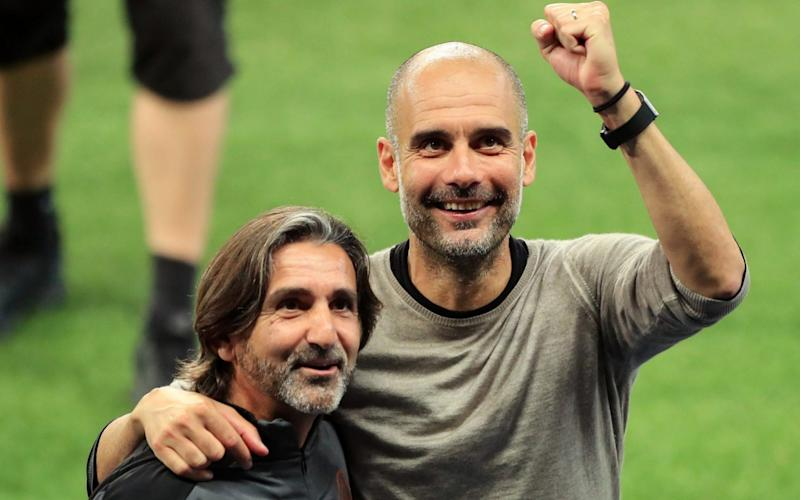 Pep Guardiola celebrates Manchester City's win over Real madrid - GETTY IMAGES