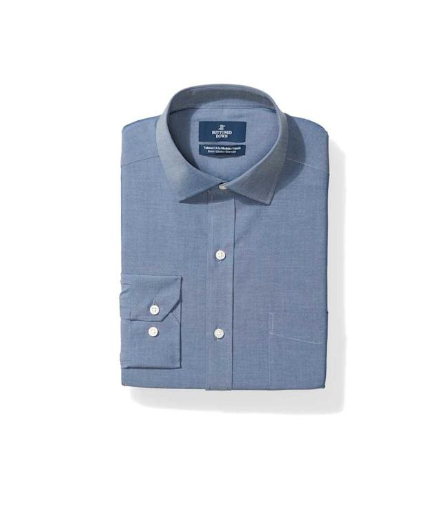 "<p>Men's Tailored Fit Stretch Poplin Non-Iron Dress Shirt in Denim Blue, $49 + up to 50% off, <a href=""https://www.amazon.com/Buttoned-Down-Tailored-Stretch-Non-Iron/dp/B076BLJK9T/ref=sr_1_1?s=apparel&ie=UTF8&qid=1531257781&sr=1-1&nodeID=7147441011&psd=1&keywords=Buttoned%2BDown%2BMen%27s%2BClassic%2BFit%2BStretch%2BPoplin%2BNon-Iron%2BDress%2BShirt%2Bin%2BPink&th=1"" rel=""nofollow noopener"" target=""_blank"" data-ylk=""slk:amazon.com"" class=""link rapid-noclick-resp"">amazon.com</a> </p>"