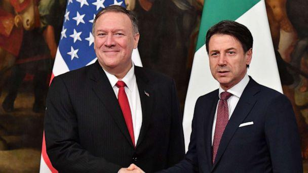 PHOTO: Secretary of State Mike Pompeo and Italy's Prime Minister Giuseppe Conte shake hands during their meeting, Oct. 1, 2019, at Palazzo Chigi in Rome. (Alberto Pizzoli/AFP/Getty Images)