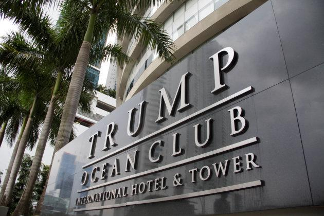 A sign of the Trump Ocean Club International Hotel and Tower Panama is seen in Panama City, Panama October 11, 2017.