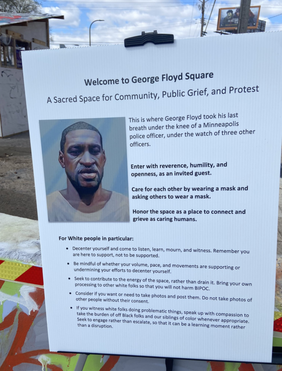 A sign erected at the George Floyd Square with rules for white people.