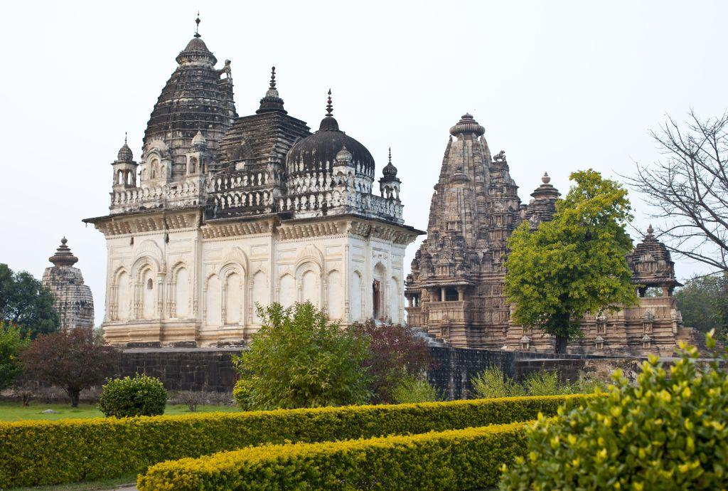 View of the famous Khajuraho temple.