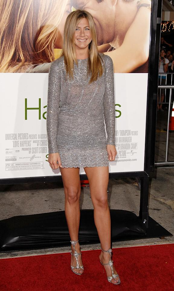 """<a href=""http://movies.yahoo.com/movie/1810091566/info"">Love Happens</a>"" World Premiere in Westwood (2009)    Sheer can go terribly wrong, but the actress shows how sheer is done right in this Valentino mini. And the unexpected shoe choice – Christian Louboutin gladiators – adds an additional edge to the ensemble."