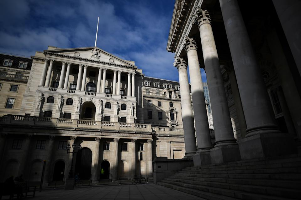 A view of the facade of the Bank of England in central London on November 5, 2020. - The Bank of England on November 5, 2020 unveiled an extra £150 billion in cash stimulus and forecast a deeper coronavirus-induced recession for the UK as England begins a second lockdown. (Photo by Ben STANSALL / AFP) (Photo by BEN STANSALL/AFP via Getty Images)