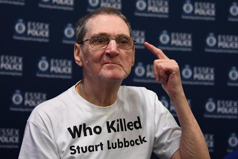 Terry Lubbock wearing a campaign T-shirt (PA) (PA Media)