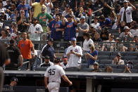 New York Yankees pitcher Gerrit Cole (45) walks to the dugout after being taken out in the fourth inning of the first baseball game of a doubleheader against the New York Mets on Sunday, July 4, 2021, in New York. (AP Photo/Adam Hunger)