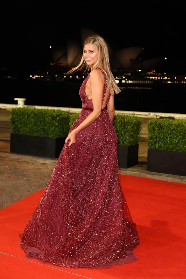 <p>Tegan's outfit, paired with Tony Bianco heels, was very early dubbed as the 'best look of the night'. Photo: Getty </p>